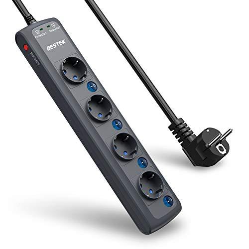 BESTEK Multiprise 4 Prises Parasurtenseur 2000 Joules Multiprise Parafoudre avec 4 Interrupteurs Indépendants et Cordon de 1.8m, 4000W/16A