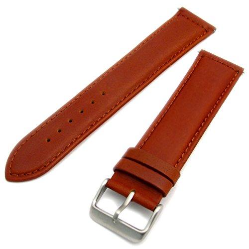 Sorrento Italienische Gepolsterte Kalb Leder Uhrenarmband XL Extra Lang Band, hellbraun, 18mm, mit Chrom (Silber Farbe) Schnalle
