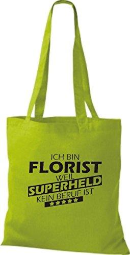 Shirtstown Stoffbeutel Ich bin Florist, weil Superheld kein Beruf ist lime