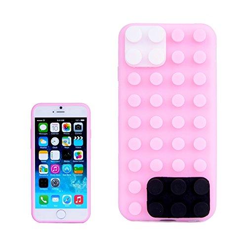 wkae Schutzhülle Case & Cover Building Block Textur Silikon Schutzhülle für iPhone 6& 6S Rosa