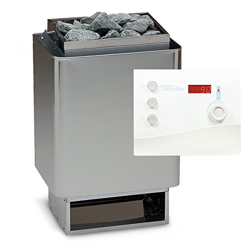 Saunaset EOS 34A Sauna Ofen 9 kW - Deutsche Qualität inkl. Ondal Steuerung K1-2 K2 mit Zeitvorwahl, Saunasteine und Silikonkabel 5 Adrig