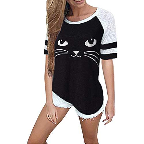 Luckycat Blusa Camiseta de Patchwork Cuello Redondo para Mujer Tops Primavera Verano Camisa Blusa de Gato Impresión