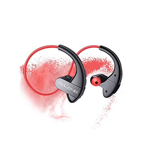 DingLong S13 Drahtloser Stereo Binaurales Bluetooth Headset Kopfhörer,IPX5 Wasserdichte Sweatproof Drahtlose HiFi Sportkopfhörer Mit der Taste (Rot) Binaural-stereo