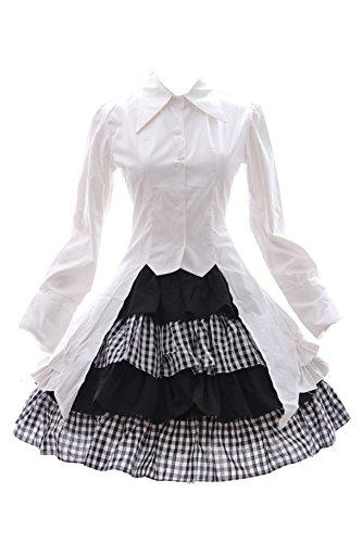 JL-585 Yosuga no Sora Haruka Kasugano schwarz weiß Gothic Lolita Bluse Rock Set Kostüm Kleid dress Cosplay (EUR Gr. (Goth Rock Kostüme)