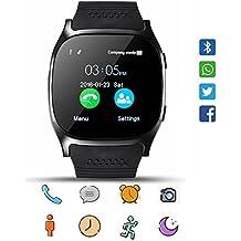 Smart Watch CoolFoxx CF02 Supporto SIM TF Card, orologio da polso con fotocamera, contapassi, monitor sonno, Message Sync Notifier, lettore musicale, Sedentary per Android Samsung Huawei, HTC, ZTE(nero)