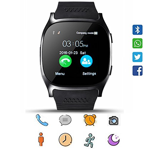 Smart Watch CoolFoxx CF02 Unterstützung SIM TF-Karte, Armbanduhr mit Kamera, Schrittzähler, Schlaf-Monitor, Message Sync Notifier, Musik-Player, sesshaft für Android Samsung Huawei, HTC, ZTE (schwarz) (Uhr Wifi Touch Screen)