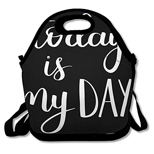 Lunch Bag Tote Boxes Bags Insulated LunchBags Artistic Motivational Quote Lettering Today My Black Cute Dream Expression Graphic Hand Lunch Box for Office Work School Student