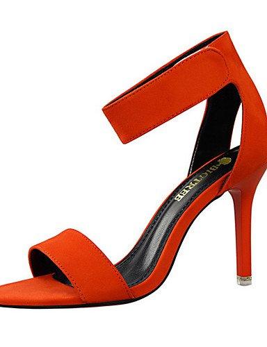 WSS 2016 Chaussures Femme-Soirée & Evénement-Noir / Rouge / Gris / Orange / Kaki-Talon Aiguille-Talons / Bout Ouvert-Sandales-Velours orange-us7.5 / eu38 / uk5.5 / cn38