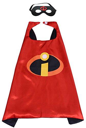 Karnevalskostüm Superhelden Verkleiden Umhang Kinder Kostüm Verkleiden mit Masken für Kinder von 4 bis 6 Jahre (Incredibles superhelden kostüm, 70cm x 70cm / 27in × (Mädchen Incredibles Kostüm)