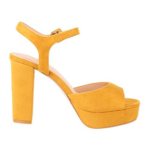Elara Damen Pumps | Bequeme Peep-Toe Pumps | Trendige Plateau High Heels | Chunkyrayan AT0983 Yellow-41 Peep-toe-pump