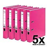 Falken PP-Color Kunststoff-Ordner 5 cm schmal DIN A4 Pastell-Farbe pink 5er Pack Ringordner Aktenordner Briefordner Büroordner Plastikordner Schlitzordner
