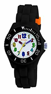 Tikkers Kids Black Rubber/Silicone Strap Watch with Bright Funky Coloured Numbers TK0016