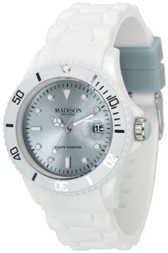 Madison New York Unisex-Armbanduhr Candy Time White Fashion Analog Quarz Silikon U4359E1