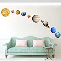 Vankcp 36 Pcs Glowing Planets Wall- Removable Glow 9 Pcs Planet and 27 Pcs Stars in The Dark Wall Stickers, Solar System Art Decoration Sticker for Kids Bedroom Wall Ceiling