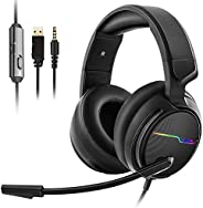Jeecoo V20 Over the Ear Gaming Headset with Microphone,Volume Control,LED Light Headset for PS4/Nintendon Swit
