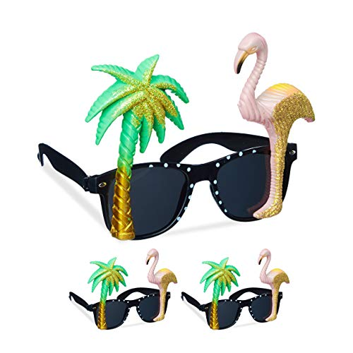 Relaxdays 3 x Partybrille Flamingo & Palme, goldener Glitzer, getönte Gläser, Strandparty, Hawaii Brille, Kunststoff, bunt
