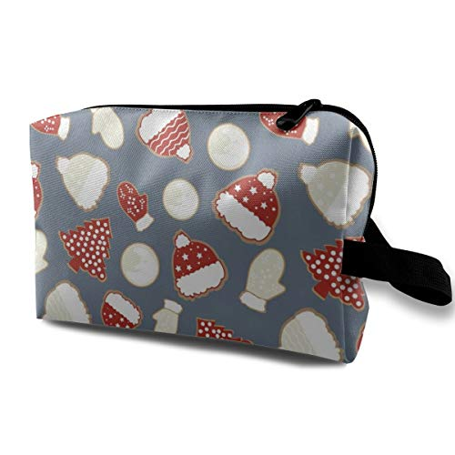 Makeup Bag Portable Travel Cosmetic Bag Christmas-Cookies White Red Mini Makeup Pouch for Women Girls