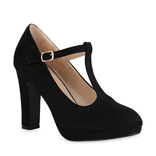 Stiefelparadies Damen Pumps Mary Janes T-Strap High Heels Elegante Party Schuhe 159090 Schwarz 39 Flandell
