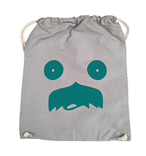 Comedy Bags - GESICHT SCHNURRBART - COMIC - Turnbeutel - 37x46cm - Farbe: Schwarz / Pink Hellgrau / Tuerkis