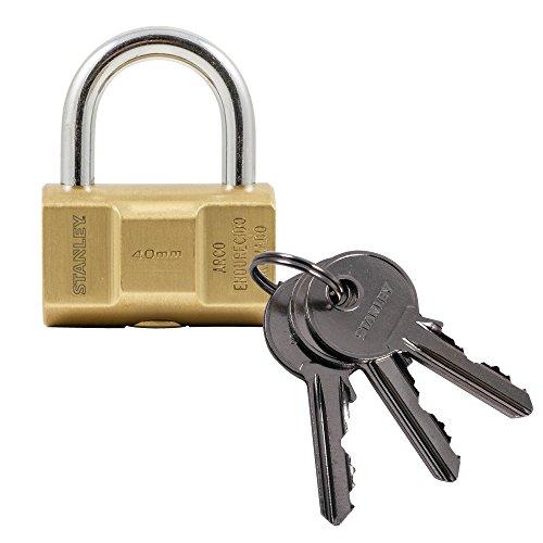 STANLEY Barrel Brass Vorhangschloss 40 mm, 3 Schlüssel, S742-046, Schloss, Bügelschloss