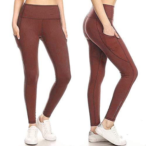 KIMODO® Damen Leggings mit Pailletten und Taschen, Sport Yoga Fitness Hose einfarbig Sommer Jogging Laufen Slim Freizeithose Pants