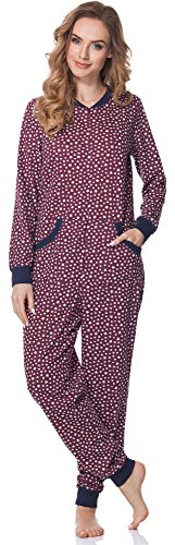 Merry Style Damen Schlafanzug Strampelanzug Schlafoverall MS10-175 (Burgund (SterneDunkelblau), L)