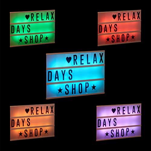 Relaxdays Lightbox mit Farbwechsel, Leuchtkasten, 85 Buchstaben & Symbole, 3 Zeilen, Lichtbox batteriebetrieben, weiß