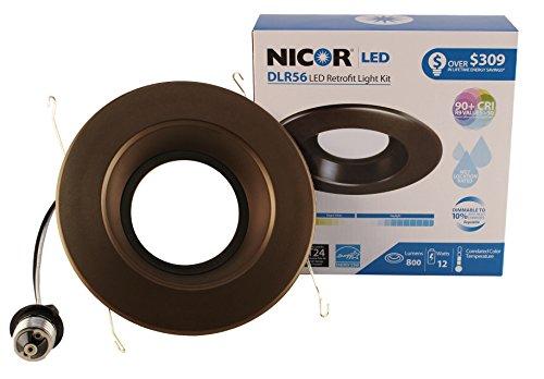 nicor Beleuchtung dlr56-3008-120-2K-bk 6in. 800lm LED Einbaustrahler Einbauleuchte in 2700K Farbe Temp mit schwarzem Besatz, 5000 K Oil-Rubbed Bronze (Einbauleuchten Bronze)