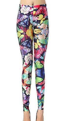 DELEY Damen Mädchen Digitaldruck Leggins Stretch Hosen Enge Strumpfhose Leggings (Frauen Halloween Kostüme Butterfly)
