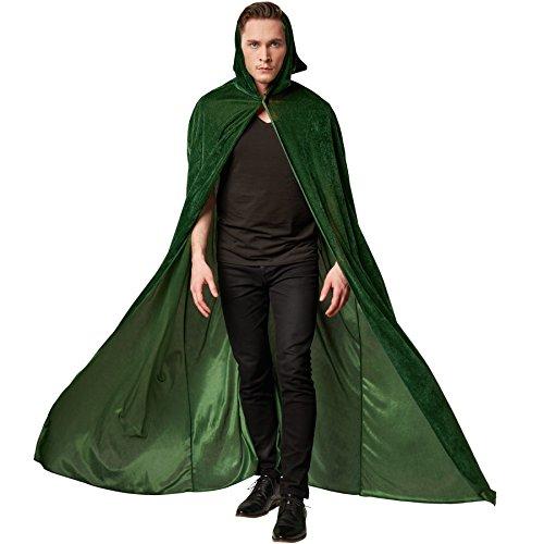 Dressforfun mantello in velluto con cappuccio | unisex | mantello senza maniche con chiusura a strappo | abbinabile a molti costumi (158 cm | verde | no. 301867)