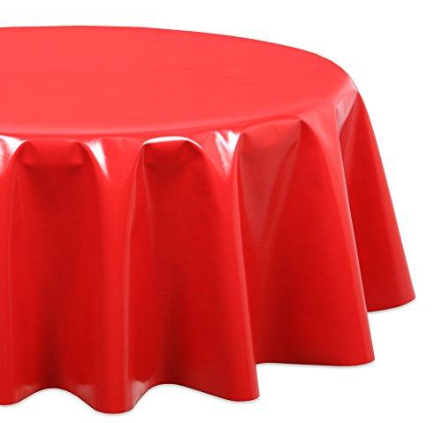 Wachstuchtischdecke OVAL RUND ECKIG Farbe u. Größe wählbar, Tischdecke Wachstuch abwischbar, Uni (Rot Rund 140) -