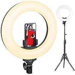 Ring Light LED, ESDDI Luce Anulare 14 Pollici Kit Bi-color 3200k-5600k con Supporto Leggero e Hot Shoe per Fotocamera Smartphone, Youtube, Vine, Autoritratto, Ripresa Video