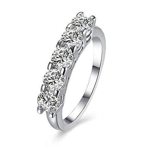 Thumby Cuivre Plaqué Platine 2.9g Romantique Cinq Diamant Lisse De La Bague pour les femmes,white,9