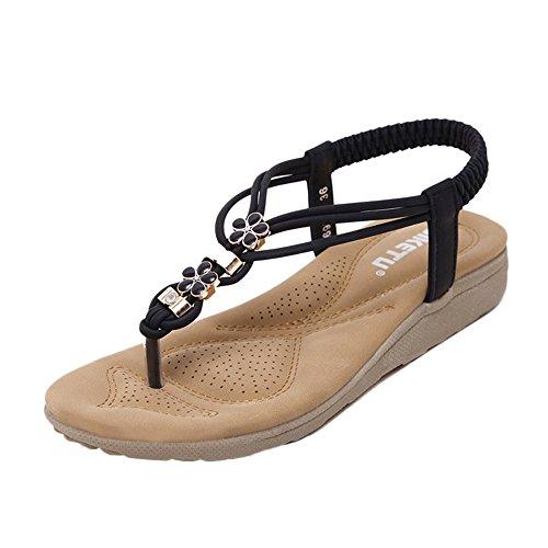 Kingko® Frauen Boho Rhinestone Art und Weise flache große Größen beiläufige Sandelholze Strand Schuhe Sole Material rutschfeste Gummisohlen Schwarz
