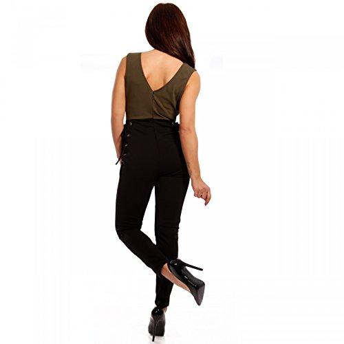 Damen Overall Jumpsuit Hosenanzug mit seitlicher Schnürung Schwarz/Khaki