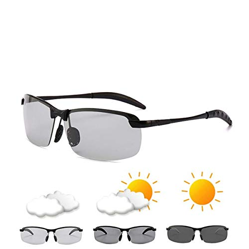 Sport-Sonnenbrillen, Vintage Sonnenbrillen, Photochromic Sunglasses Men Polarized Driving Chameleon Glasses Male Change Color Sunglasses Day Night Vision Driving Eyewear C1-Hei bian