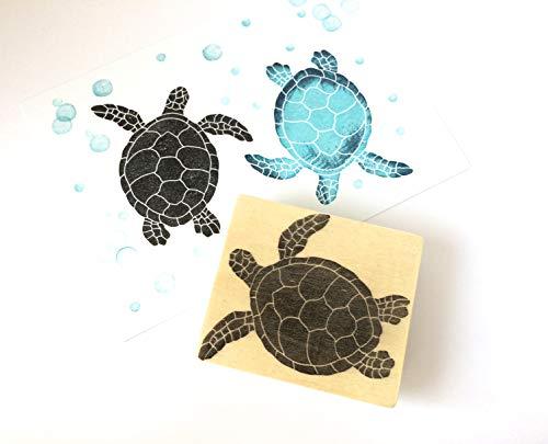Stempel Schildkröte, Meeresschildkröte handgeschnitzt, auf Holz montiert, Meerestier, Wasserbewohner Reptilien Stempel, Kinder Stempel, Schul-Stempel, Basteln und Drucken, DIY, Karten, Geschenkpapier Gestalten