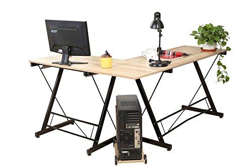 AHHC Eckschreibtisch Schreibtisch Computertisch Bürotisch Holz 161*120*73CM (Gelb) (Eckschreibtisch Holz)