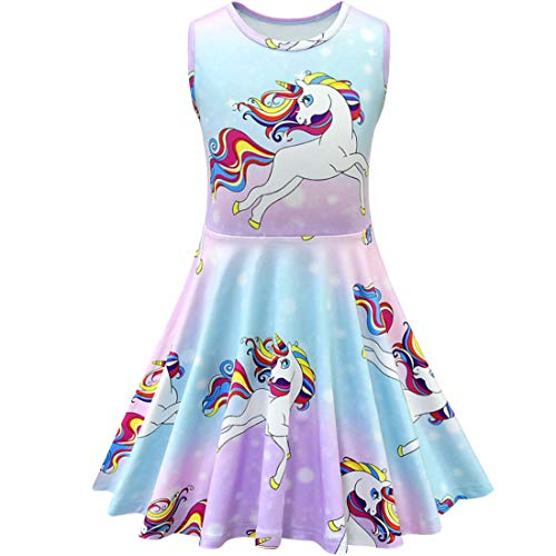 Prinzessin Kleid Kinder Regenbogen Party Sommer Halloween Casual,140cm ()