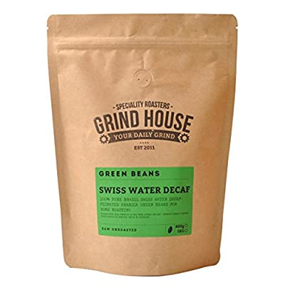 Grind House Swiss Water Decaffeinated Green Coffee Beans for home roasting 400g from Grind House Speciality Roasters