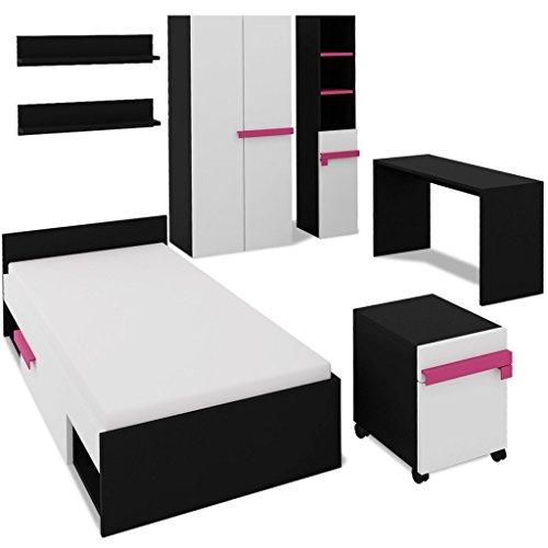 Kinderschlafzimmer-Set Kinderzimmer Möbel Komplett-Set inkl. 1 Bett, 1 Schreibtisch, 1 Schrank, 1 Kleiderschrank, 1 Bücherregal und 2 Einlegeböden - Rosa (Kinder Schlafzimmer Möbel-sets)