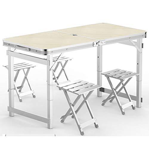 Praktischer Multifunktionstisch Leqi Klapptisch Outdoor Tragbarer Tisch Und Stuhl Kombination Set Einfache Aluminium Klappstuhl Hocker Wild Barbecue Stall Tisch Nussbaum Mit Regenschirm Loch Mit 4 Alu -