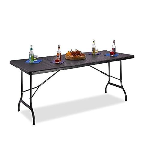 Relaxdays Table de jardin pliable BASTIAN optique rotin grande table pliante poignées camping pique-nique HxlxP: 72 x 178 x 74 cm, noir
