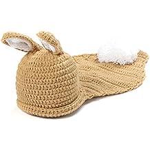 OULII Infantil bebé ropa traje traje Crochet punto fotografía Prop conejo sombrero traje sistemas del bebé, regalo de Navidad