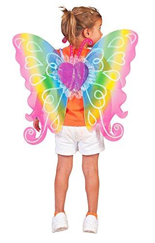 Flügel Regenbogen Fee 60x54 cm - Schöne Feenflügel in Regenbogenfarben für Kinder zum Kostüm (Schöne Fee Flügel)