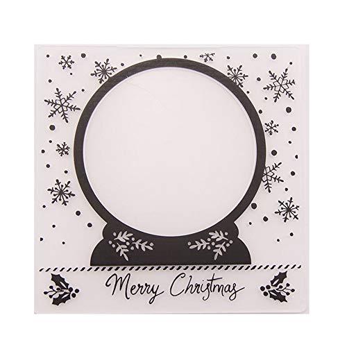 Merry Christmas Christmas Snowball Global Kunststoff-Prägemappe für Scrapbook-DIY Album Karte Werkzeug Kunststoff Vorlagen Ordner Papier Basteln Werkzeuge