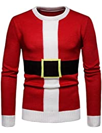 JEELINBORE Uomo Maglione Natalizio Ugly Xmas Sweater Girocollo Pullover  Lavorato a Maglia Maglieria Tops a2e849ba220