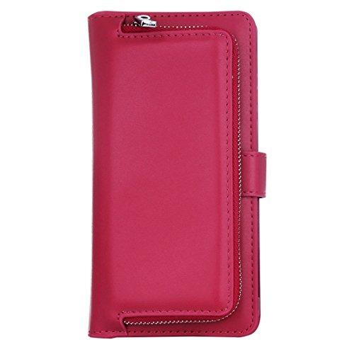 Buona Casa- Per iPhone 7 Plus Plain Weave Texture Zipper Cinturino orizzontale in cuoio con custodia protettiva e posteriore staccabile e slot per carte e portafogli ( Color : Pink ) Magenta