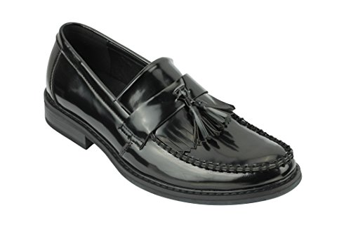 Mens Vintage Polished Leather Tassel Loafers - Sizes 6 to 11