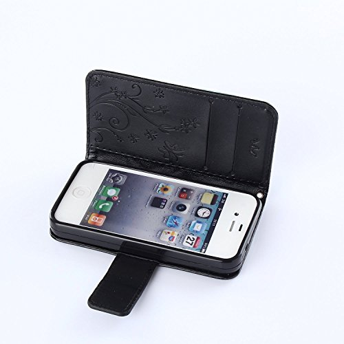 iPhone 4S Hülle,iPhone 4S Weiß Leder Handy Tasche Wallet Case Flip Cover Etui,iPhone 4S Cover,EMAXELERS iPhone 4S PU Leder Flip Wallet Case Hülle,Niedlich Muster Druck Cool Skull Blumen Design Back Hü D Pure 7